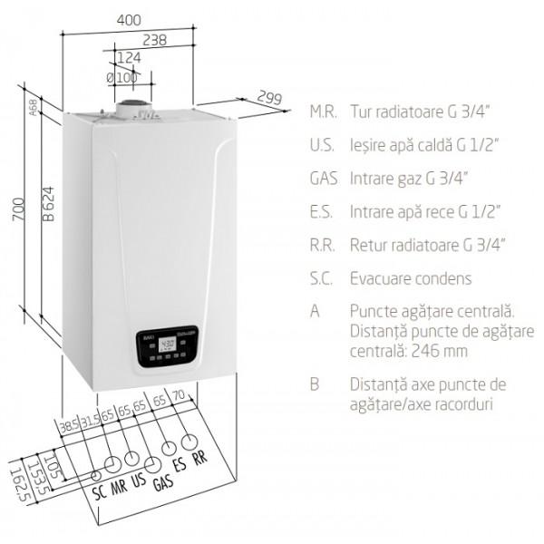 Baxi DUO-TEC COMPACT E 1.24 doar incalzire - 24 kW (A7722080)