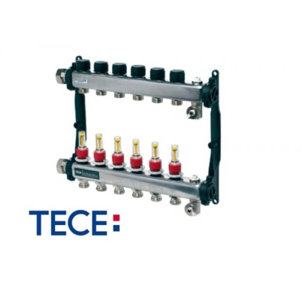"TECE Distribuitor TECEfloor SLQ RECTANGULAR otel inox, complet echipat 8 cai x 3/4"" x 1"" (77310008)"