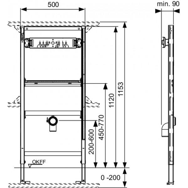 TECE Modul urinal TECEprofil fara supapa de spalare, H 1120 mm (9320010)