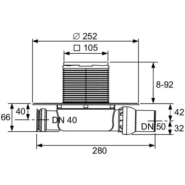 TECE Sifon complet extraplat TECEdrainpointS, ev, laterala DN 50 (3601100)