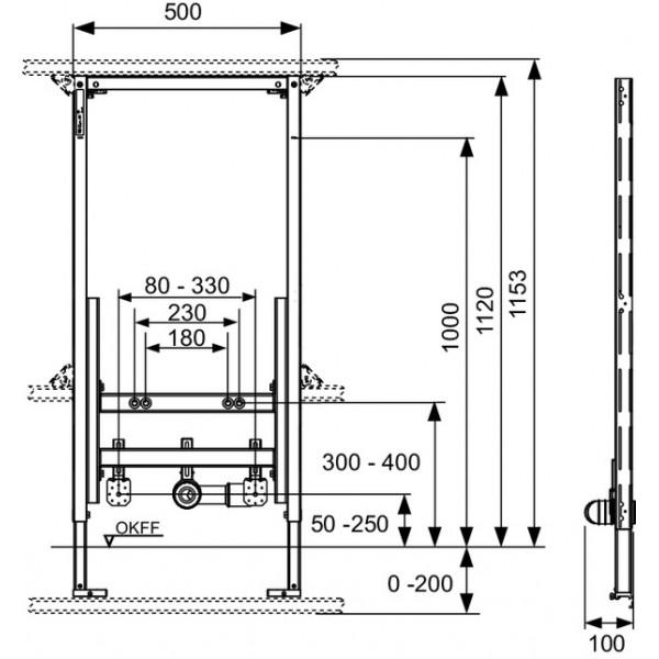 TECE Modul bideu TECEprofil, H 1120 mm (9330000)