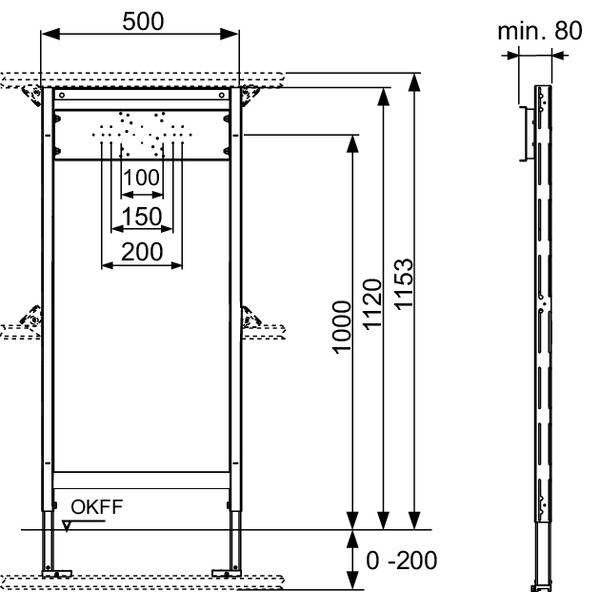 TECE Modul de cada/dus TECEprofil pt fitinguri externe, H 1120 mm (9340000)