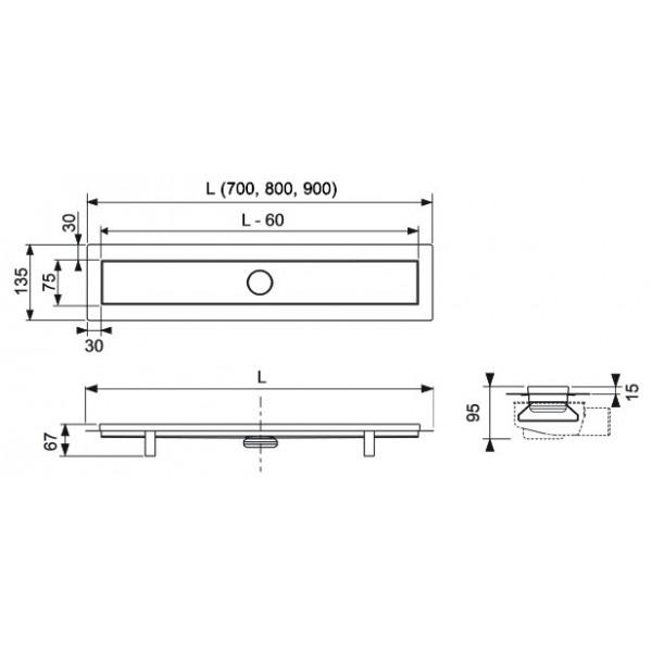 TECE Pachet Rigola Dus Linus Base, 700 mm (15100070)