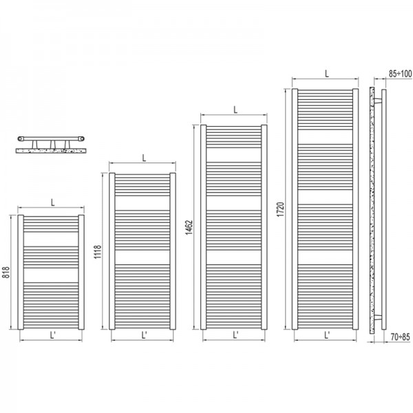 Radiator portprosop Ares alb 1118/500